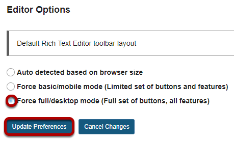 Choose your editor preference, then click Update Preferences..png