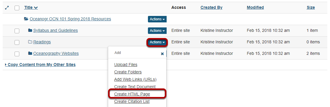 Click Actions, then Create HTML Page..png